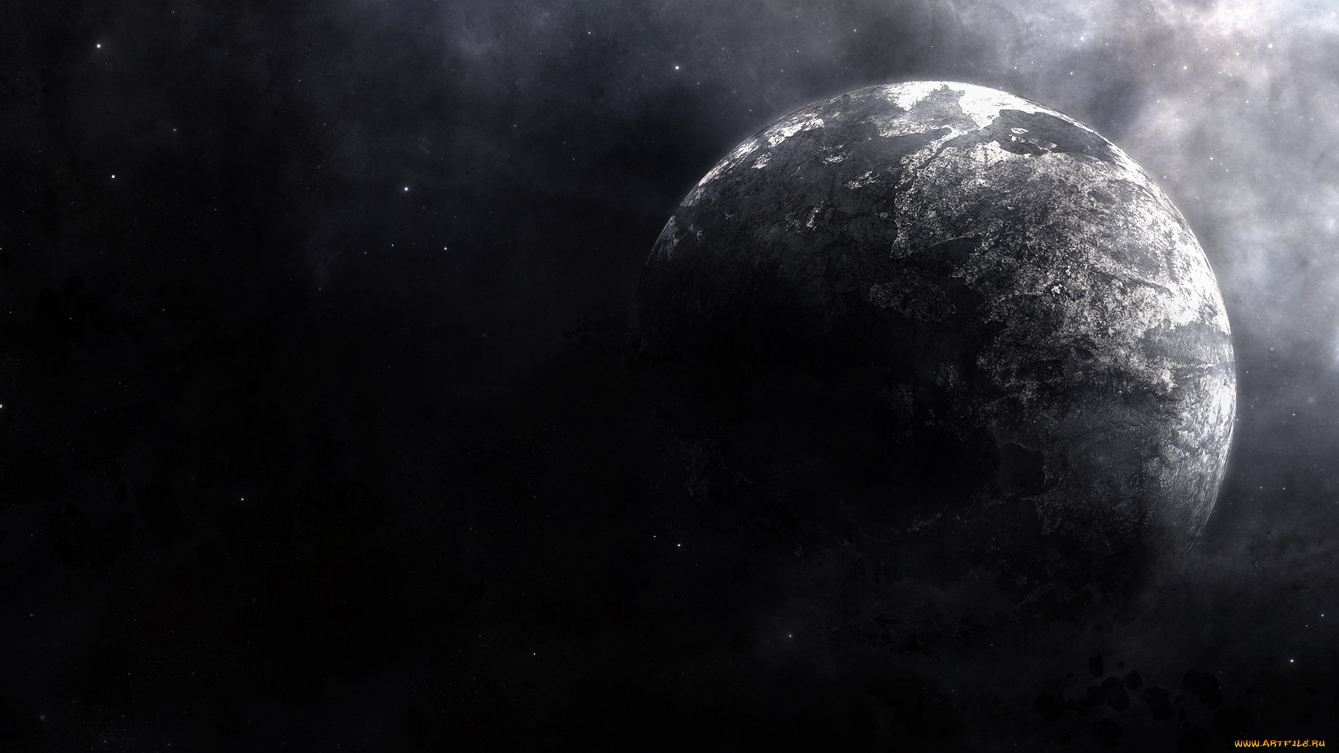 космос, арт, планета, свечение